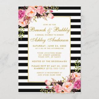 Pink Gold Striped Bridal Shower Brunch Invite