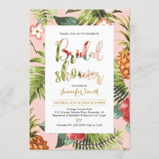 Pink & Gold | Tropical Bridal Shower Invitations