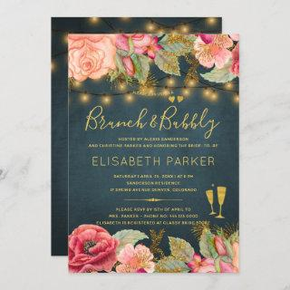 Pink gold watercolor roses navy brunch and bubbly invitation