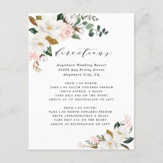 Pink Gold White Magnolia Floral Directions Wedding Enclosure Card