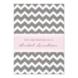 Pink Gray Chevron Bridal Lunch Invitations Cards