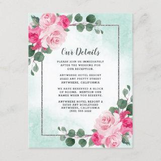Pink Green and Silver Watercolor Floral Wedding Enclosure Card