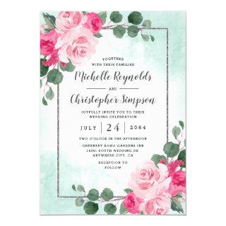 Pink Green and Silver Watercolor Floral Wedding Invitation