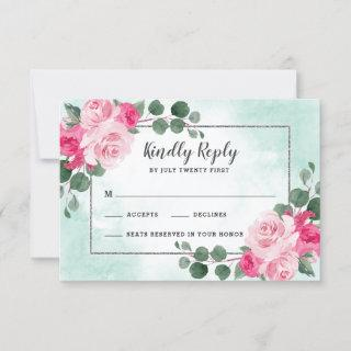 Pink Green and Silver Watercolor Floral Wedding RSVP Card