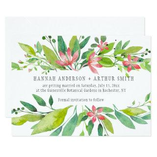 Pink Green Watercolor Flowers Save The Date | Invitation