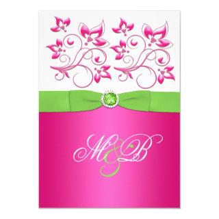 Pink, Green, White Floral Monogram Invite
