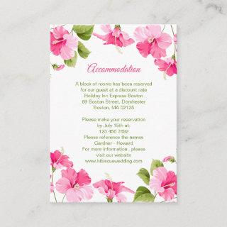 Pink Hibiscus Wedding Hotel Accommodation Enclosure Card