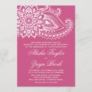 Pink Indian Paisley Formal Wedding Invitation