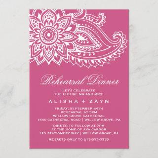 Pink Indian Paisley Rehearsal Dinner Invitations