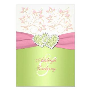 Pink Ivory Green Joined Hearts Monogram Invitations