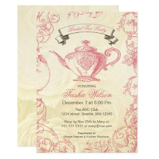 Pink Ivory Roses vintage Bridal Tea Party Invitations