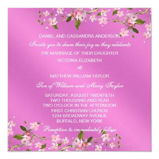 Pink Japanese Cherry Blossoms Wedding Invitations
