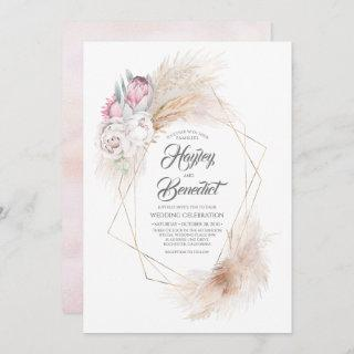 Pink King Protea and Pampas Grass Modern Wedding Invitations
