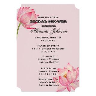 Pink Lotus Flower Bridal Shower Invitation