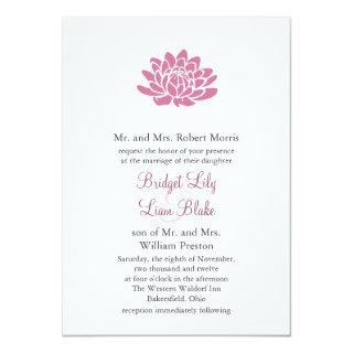 Pink Lotus Flower Wedding invitation (white)