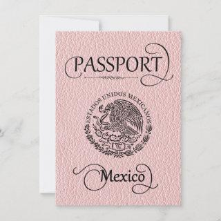 Pink Mexico Passport Save the Date Card