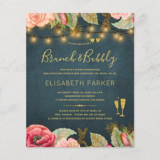 Pink navy roses brunch and bubbly BUDGET invite