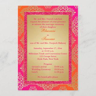 Pink, Orange, Gold FAUX Glitter Wedding Invite