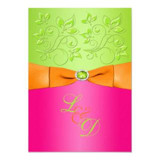 Pink, Orange, Green Monogram Wedding Invitations