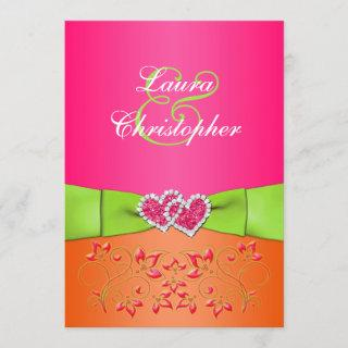 Pink Orange Lime Floral Joined Hearts  2