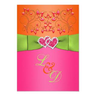 Pink, Orange, Lime Floral Joined Hearts Invite 2
