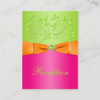 Pink, Orange, Lime Floral Wedding Enclosure Card