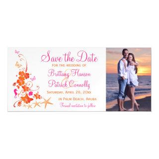 Pink, Orange Tropical Beach Save the Date Magnet