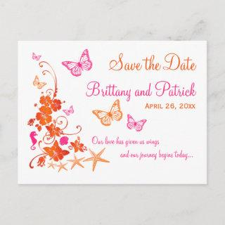 Pink, Orange Tropical Beach Save the Date Postcard