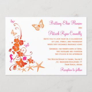 Pink, Orange, White Tropical Beach Wedding Invite
