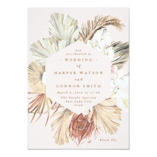 Pink Pampas Dried Grass Floral Tropical Jungle Invitations