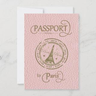 Pink Paris Passport Party Invite