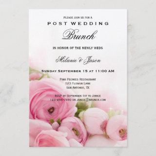 Pink Peonies Post Wedding Brunch Invitations