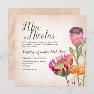 Pink Protea Flowers and Tiger Lily Wedding Invitations