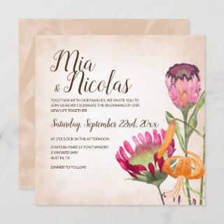 Pink Protea Flowers and Tiger Lily Wedding