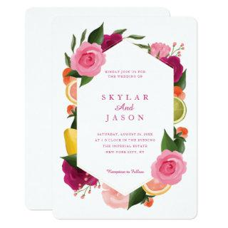 Pink Punch Watercolour Fruity Citrus Floral White Invitations