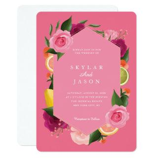 Pink Punch Watercolour Fruity Citus & Floral Pink Invitations