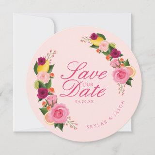 Pink Punch Watercolour Fruity Citus & Floral Save The Date