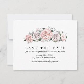 Pink Purple Rose Save the Date Card w/ Photo Back