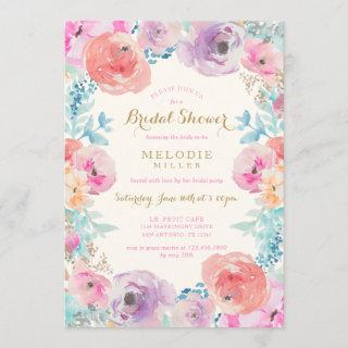 Pink Purple Vintage Floral Bridal Shower Invitation