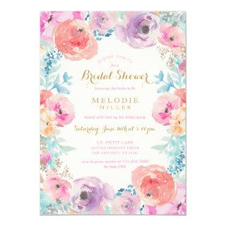 Pink Purple Vintage Floral Bridal Shower Invitations
