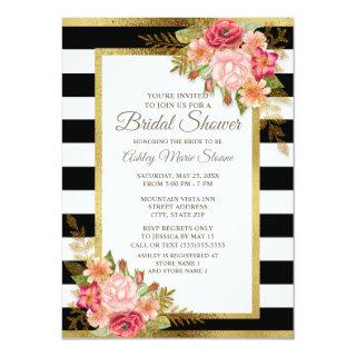 Pink Red Floral Black White Stripes Gold Bridal Invitations