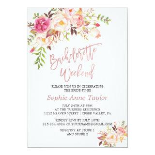 Pink Red Flowers Rose Gold Bachelorette Weekend Invitations