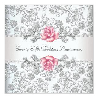 Pink Rose Damask Silver 25th Wedding Anniversary Invitations