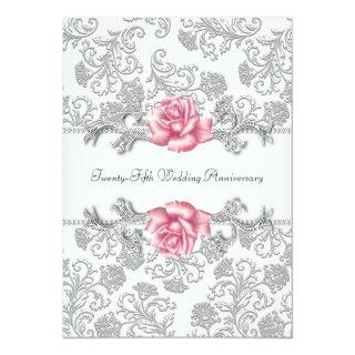 Pink Rose Damask Silver 25th Wedding Anniversary Invitation