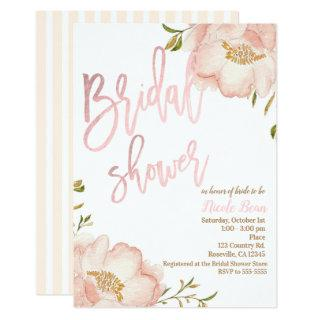 Pink Rose Gold Floral Modern Elegant Bridal Shower Invitations
