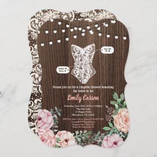 Pink Rose lingerie shower Invitations rustic wood