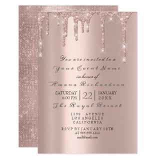 Pink Rose Pastel Powder Sparkly Glitter Drips Gray Invitation