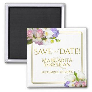 Pink Rosebuds & Calla Lilies Wedding Save the Date Magnet