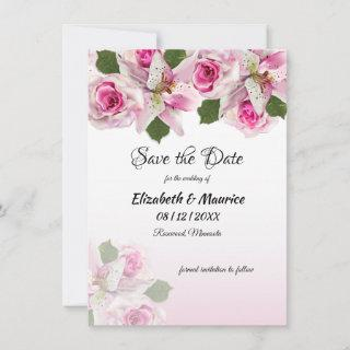 Pink Roses Tiger Lily | Save The Date