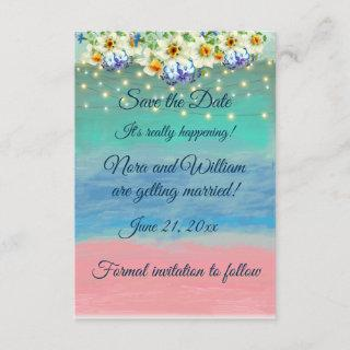 Pink Sand Beach Wedding Theme, Save the Date Enclosure Card